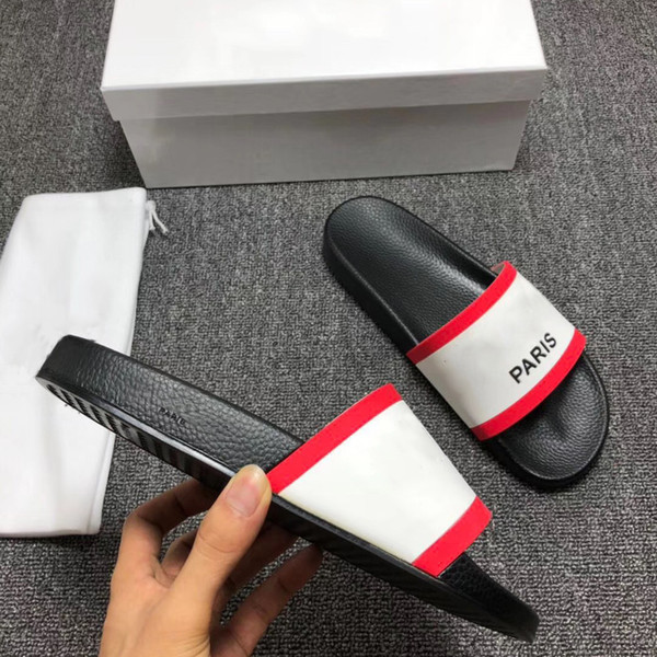 best selling Paris Fashion Sliders Mens Womens Summer Sandals Beach Slippers Ladies Flip Flops Loafers Black White Red Slides Chaussures Shoes