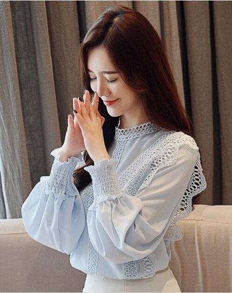 Top Chiffon shirt 2019 new long sleeve loose hollowed-out lace shirt flowing Western style jacket for women