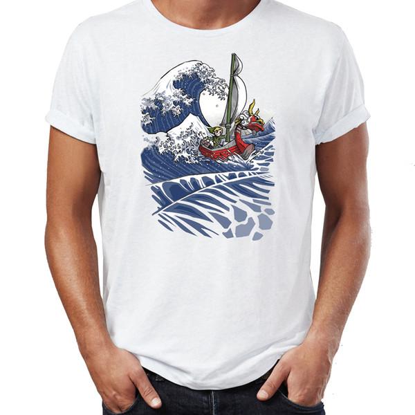 Мужская футболка The Windwaker и Zelda Link Удивительные иллюстрации Тройник с принтом