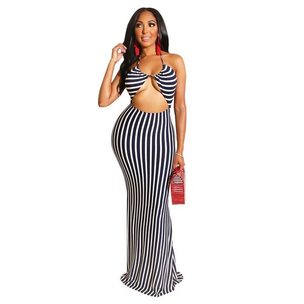 Blue White Striped Elegant Mermaid Dress Women Waist Band Cut Out Open Back Beach Dress Summer Halter Sleeveless Bodycon Dress NZK-1822