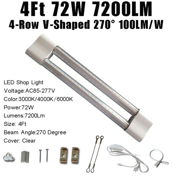 4FT 72W 7200LM V-Shaped Clear Cover