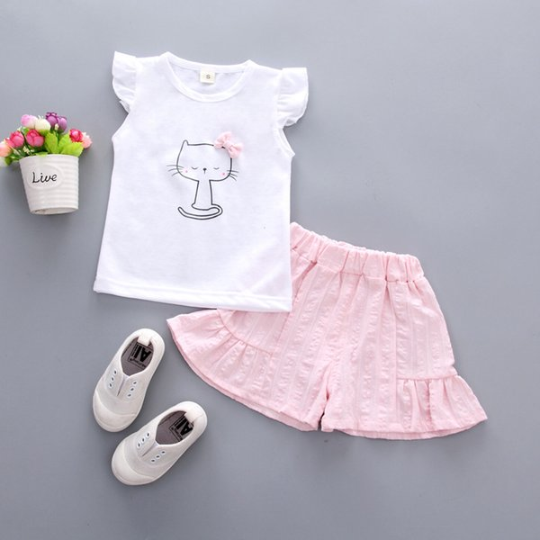 BibiCola children girls summer clothing sets girls cartoon cat vest+shorts 2pcs clothes suit for kids girls princess clothing