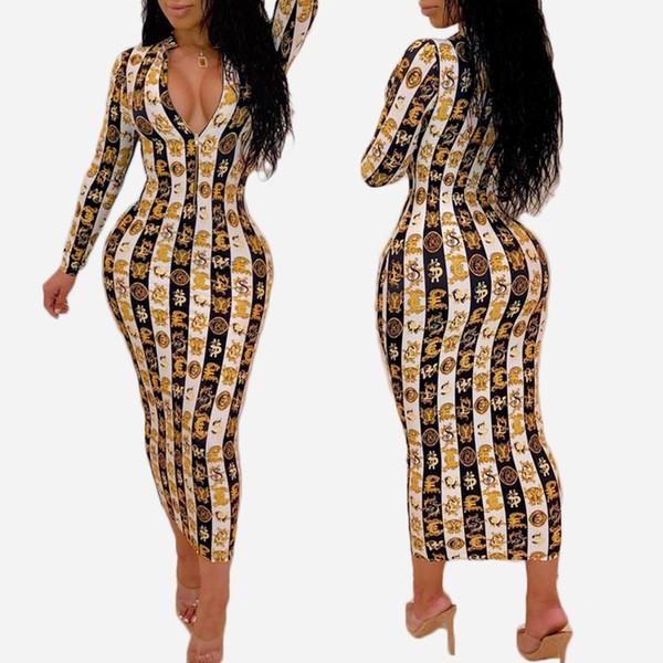 19SS Yeni Varış kadın Elbise Tasarımcısı Yaz Lüks Yılan Derisi Baskı Uzun Kollu Elbise V Yaka Bodycon Elbise Seksi Kulübü Stil Sıcak Satış