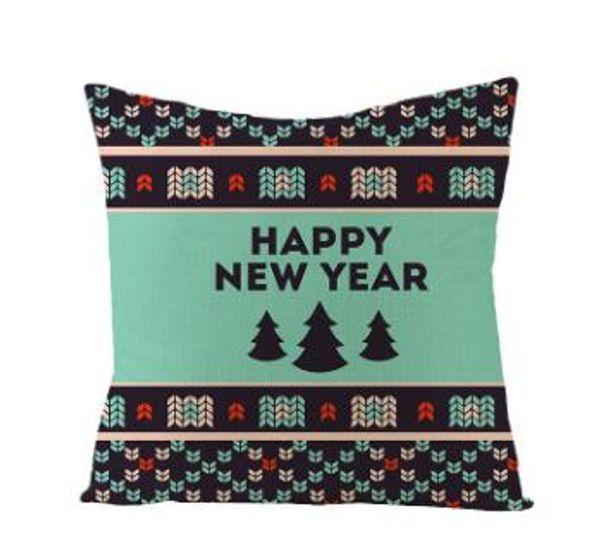 Funda de almohada cubierta de la raya de la Navidad fundas de cojines a cuadros nuevos funda de almohada del sofá de lino del amortiguador de la cubierta del regalo de Navidad Decoración 19 Estilo
