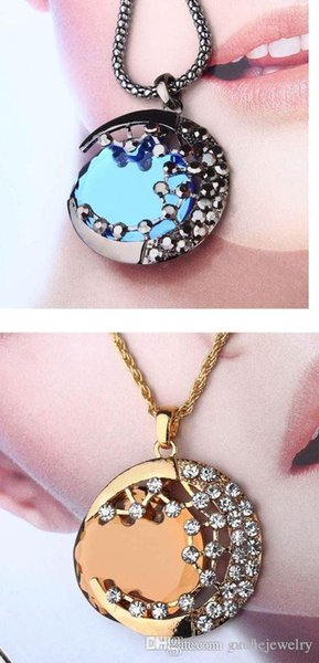 Hot Sale Blue Gem Stone Pendent Necklace Women Long Curved Moon Vampire Diaries Star Meniscus Necklace