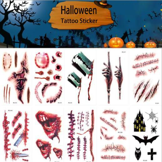 January3 Halloween Props Sticker Atmosphere Horror Funny Tattoo Stickers Wound Realistic Blood Scars Props Watermark Sticker P0028