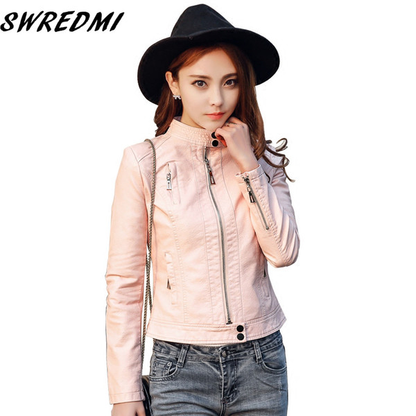 swredmi new arrival women leather coat feminino motorcycle leather jacket slim o-neck pink short casaco plus size s-3xl - from $45.35
