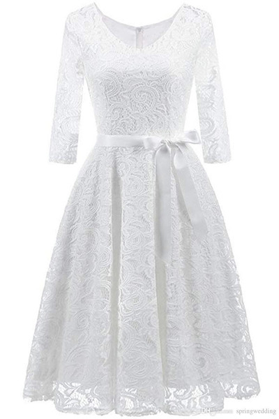 Nice Elegant V Neck Lace 2/5 Sleeve Bridesmaid Wedding Guest Dresses Slim Waist Midi Dress FS2605
