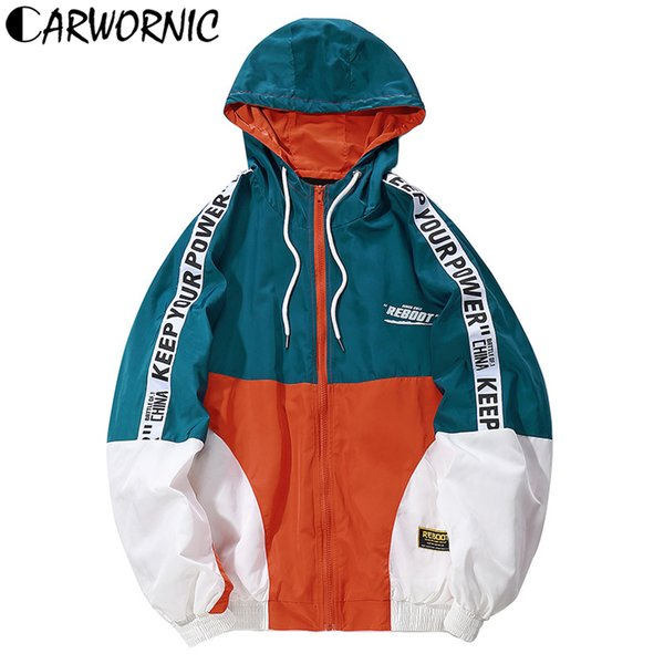 CARWORNIC Color Block Harajuku Hip Hop Hooded Jacket Men Autumn Vintage Loose Track Streetwear Jackets Casual Windbreaker Coats