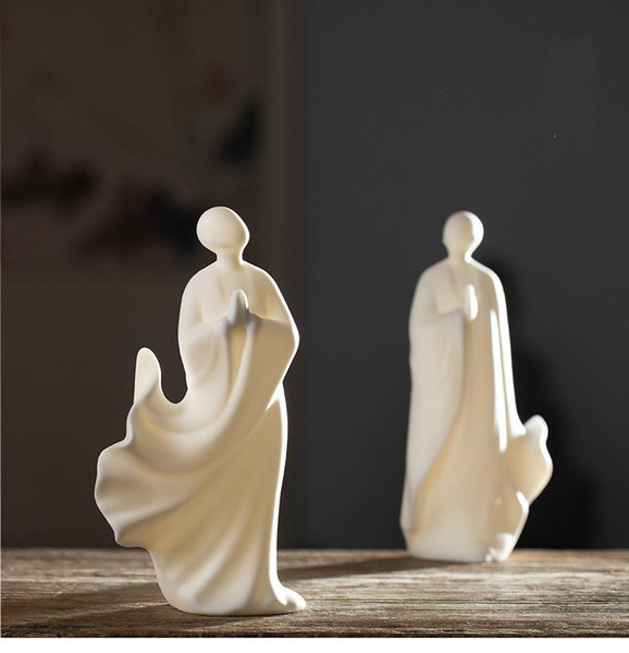 High quality Chinese Traditional Home Decorat Art Craft White Ceramics Aranquil Monk Buddhism Zen Gifs 1 type a lot Free shippin