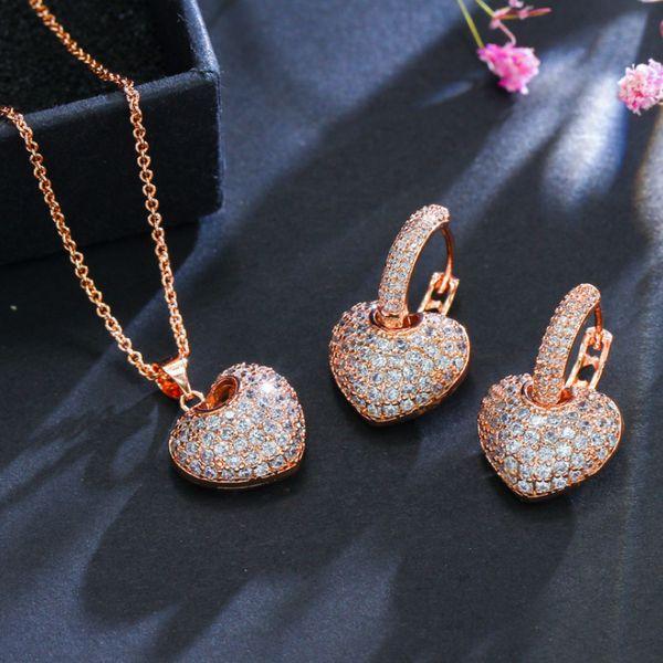 2019 neue Ankunft Meistverkaufte Luxus Schmuck 925 Sterling SilverRose Gold Fill Pflastern Weißer Topas CZ Diamant Ohrring Halskette Für Frauen Geschenk