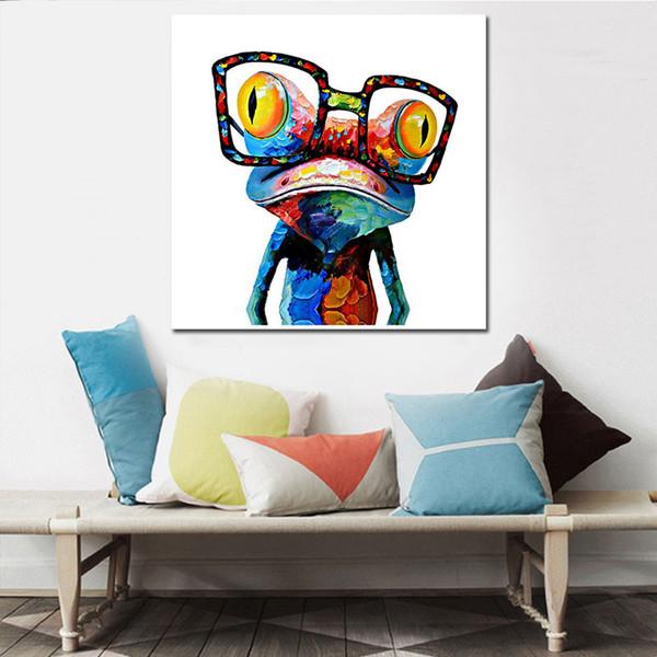 Nouvelle personnalité créative portant des lunettes grenouille peinture à l'huile décoration de la maison peinture sur toile peinture sans cadre de base en gros