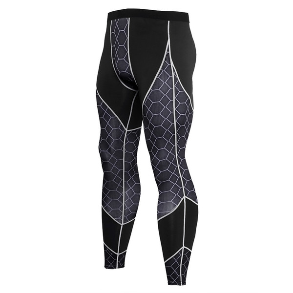 Quick Dry Sports Compression Pants Men Fitness Tights grid Pants Exercise Long Trousers Gym Running Skinny Leggins Hombre