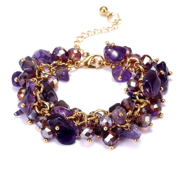 Amethyst Natural Stones Bunch Crystal Bracelet Bangle Women Party Jewelry Gift