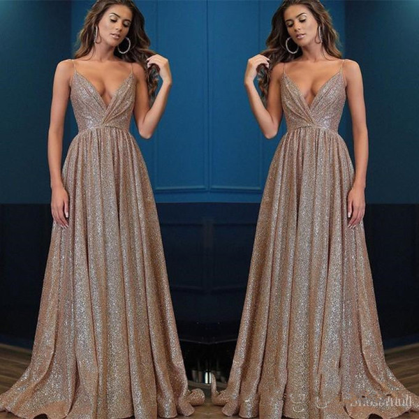 Gorgeous V Neck Spaghetti-Strap Rose Gold Sequins Prom Dresses 2019 Ruffle Sequins A-Line Long Evening Gowns Cocktail Party Dresses
