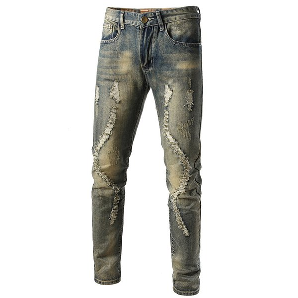 Mens Cool Designer Brand Ripped Pencil Skinny Jeans Destroyed Stretch Slim Fit Hop Hop Pants With Holes For Men