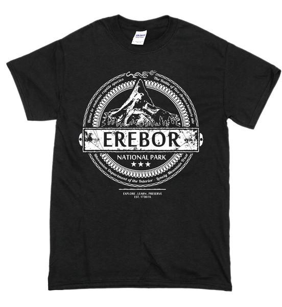 Parc national EREBOR T-shirt de la Terre du Milieu Seigneur des Anneaux The Hobbit Hommes Femmes Mode Unisexe tshirt Livraison Gratuite noir