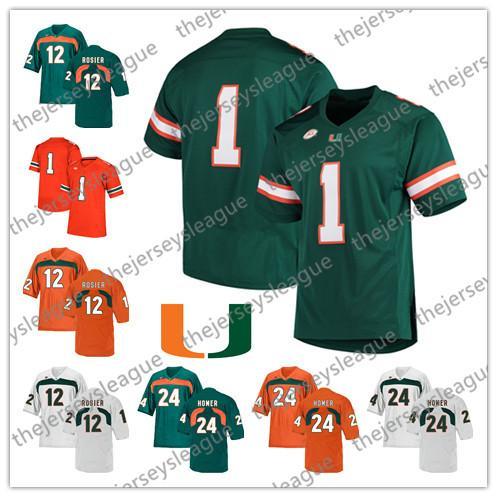 Miami Hurricanes 2019 #12 Malik Rosier Jr. 26 Sean Taylor 24 Travis Homer Green Orange White Stitched NCAA College Football Jersey
