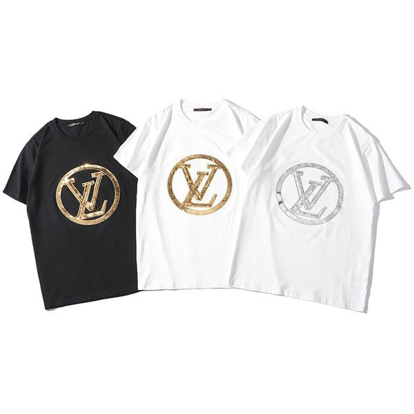 Camisetas de los hombres Camisetas de verano Top para mujeres Tide Camiseta de manga corta Camisa de lentejuelas Negro Color blanco S-2XL al por mayor