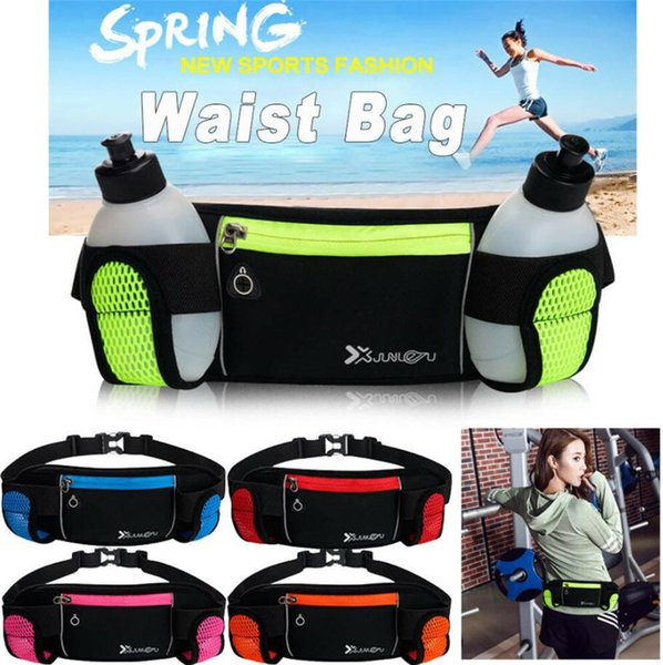 best selling Gym Running Belt Jogging Cycling Waist Pack Pouch Camping Hydration Bladder Backpack Sports Bag With 280ML Water Bottles