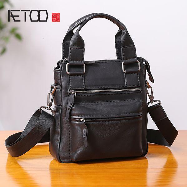 AETOO Handbag men's leather vertical business leisure single shoulder oblique cross Baotou layer cowhide men's bag