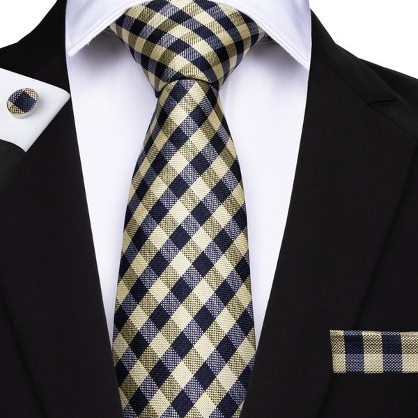 Salut-Cravate Classique Hommes Cravate En Soie Cravate À Carreaux Jacquard Tissé Largeur 8cm Largeur Travail Cravate De Mariage Formelle N-7128