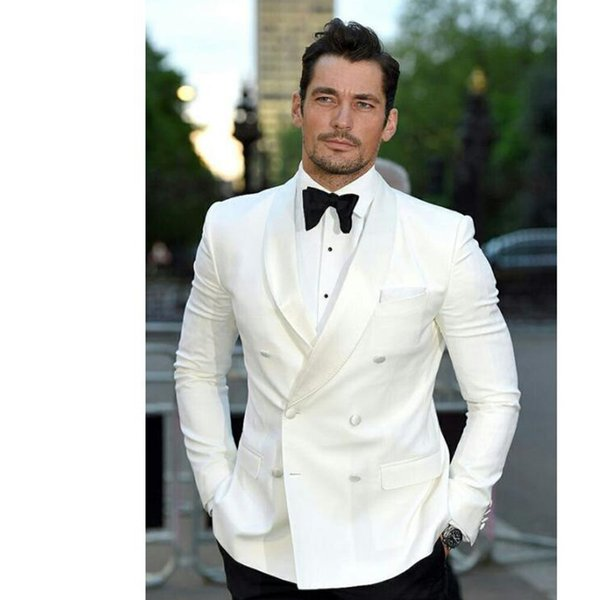 Ivory Double Breasted Mens Suits Wedding Groom Tuxedos Groomsmen for Prom Party Dinner Best Man Suits (Jacket+Pants+Tie)