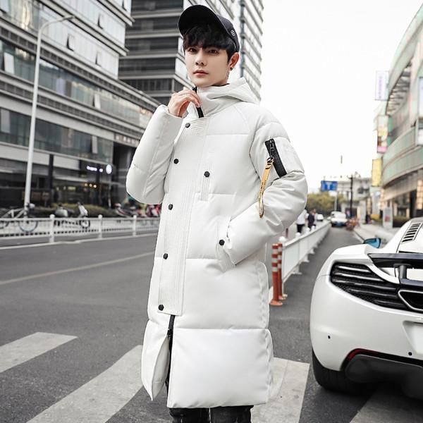 2019 Korean Style Slim Mens Warm Long Parka Solid Casual Winter Long Coat Zipper Oversize Padded Jacket
