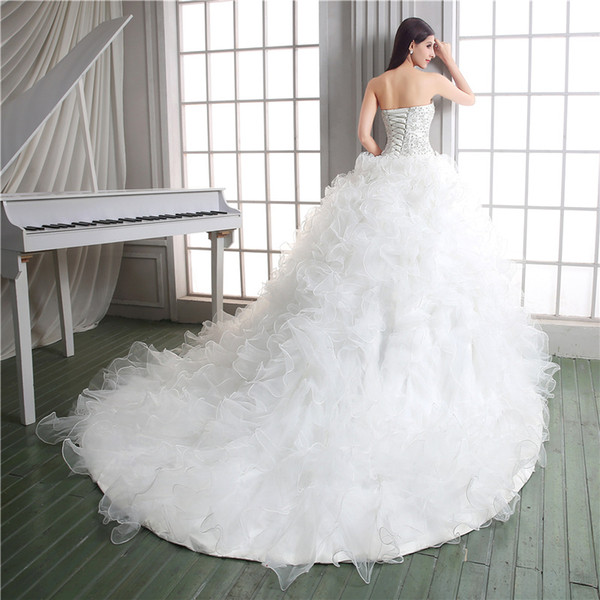 Сшитое по размерам бисероплетение оборками из органзы бальное платье свадебное платье многоуровневое шнуровке суд поезд часовня замок платье невесты плюс размер платье