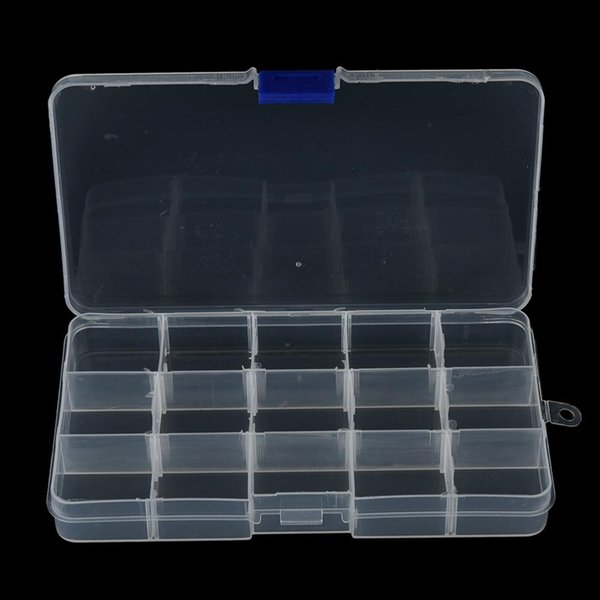 1Pcs Convenient Fishing Lure Tool Case Tackle Boxs Plastic Clear Fishing Track Box With 15 Compartments Wholesale