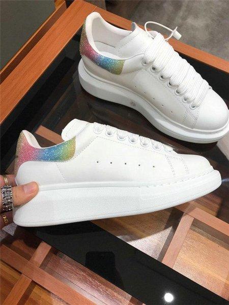 Kutu Tasarımcı Marka Erkek Kadın Moda Deri Büyük Boy Alexanders Platformu Artış Casual Ayakkabı Erkek Sneakers queens