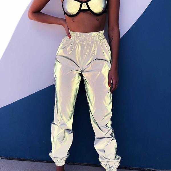 Toptan Bayan Işık Glow Shine Pantolon Sokak Stili Uzun Pantolon Moda Casual Katı Party Club Night Gevşek Gevşek Pantolon Hip Hop 2019