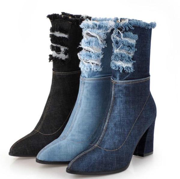 Bayanlar Shoes Kadın Ayakkabı Kadın Zapatos Mujer Sapato orta buzağı Çizmeler Tıknaz Yüksek Topuklu Denim Jean Patik Sivri Burun XZ181262