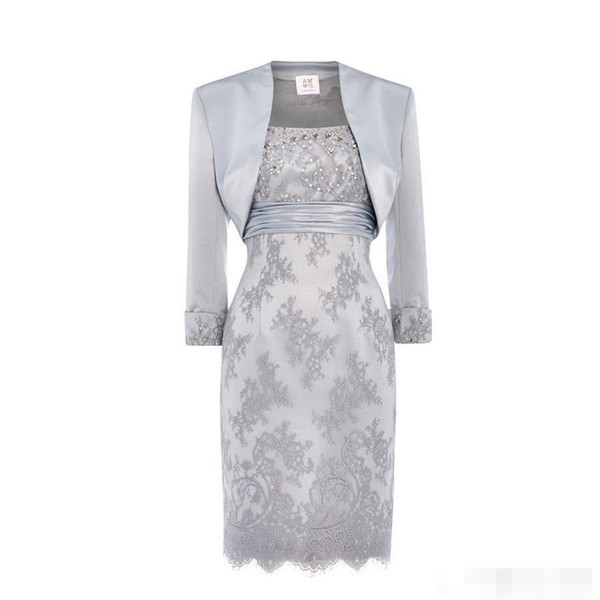 Silver Lace Beaded Short Mother Of the Bride Groom Sresses with Long Dleeve jacket real image stain knee-length monther occasion gown