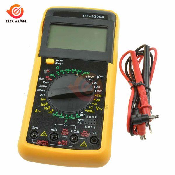 DT9205A LCD Digital Multimeter Multimetro Electric Handheld Voltmeter Ammeter Tester Resistance Capacitance AMP AC/DC test Probe