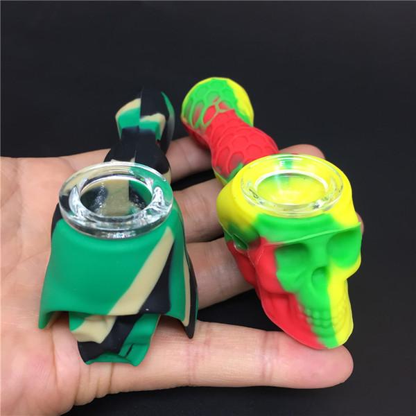 El más nuevo estilo 2 Skull Silicone Hand Pipa de agua con un tazón de vidrio Martian Silicone Blunt Bong Bubbler Joint Portable Shisha Hand Pipes Accessori