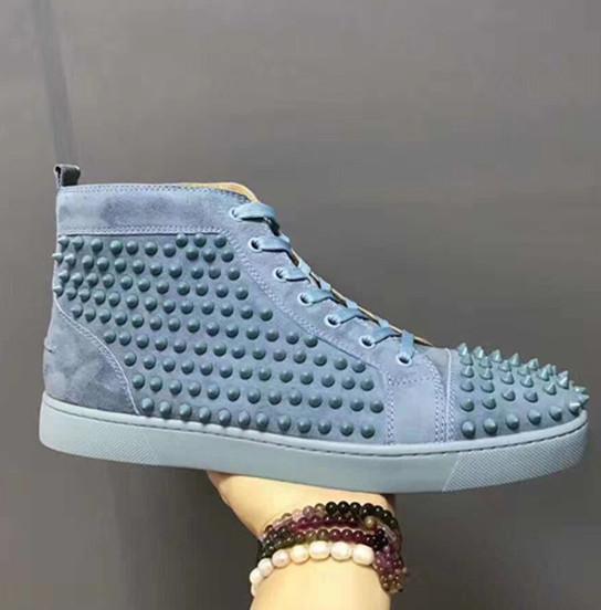 Новые мужские женские высокие верхние синие замшевые красные нижние туфли повседневная мода шипы джентльмен дизайнер на шнуровке кроссовки свадьба размер обуви 36-47