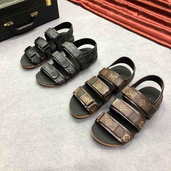 2019 nouvelles bascules d'été pour les hommes sandales mode doux confortable pied durable en peau de vache