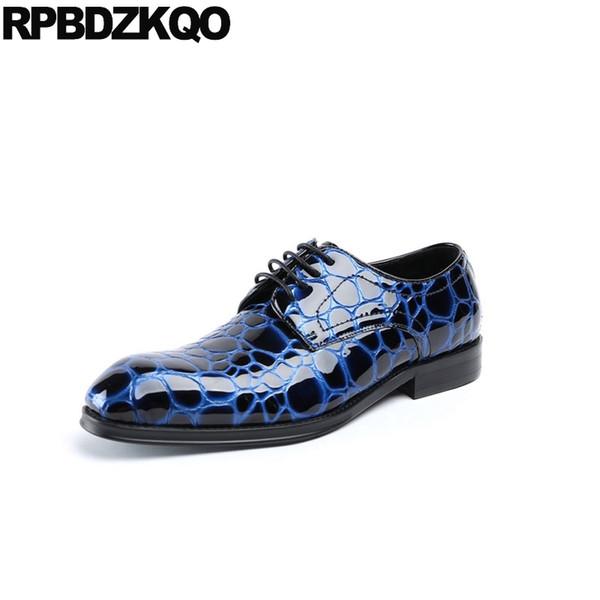 Yılan derisi siyah rugan oxfords örgün avrupa kare ayak İtalyan İtalya düğün yılan cilt derby erkekler mavi elbise ayakkabı