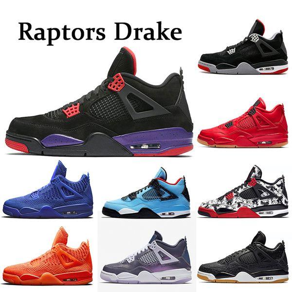 NIKE Air Jordan retro 4 4s Raptors Drake Travis Scott Scarpe da pallacanestro da uomo Soldi puri di bianco Bred Scarpe da ginnastica da uomo Sneakers sportive taglia 5.5-13