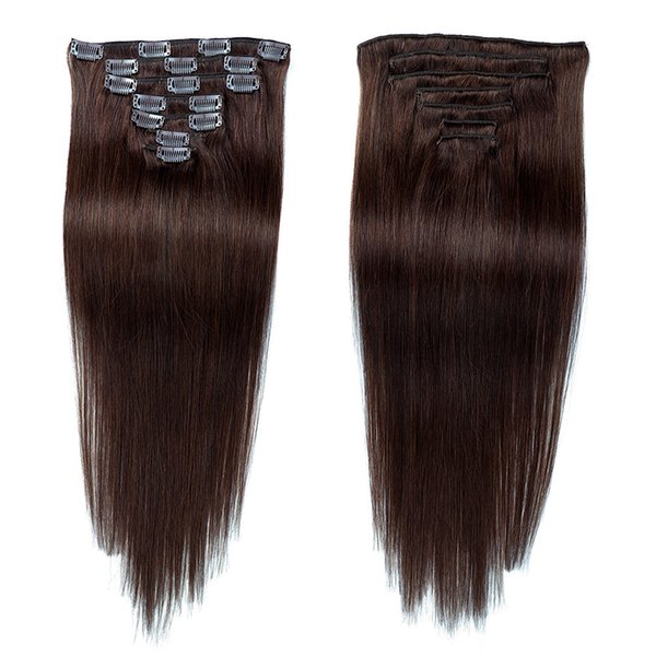 Venta al por mayor de Brown # 2 Virgin Remy Clip sin costura de cabello humano en extensiones de cabello