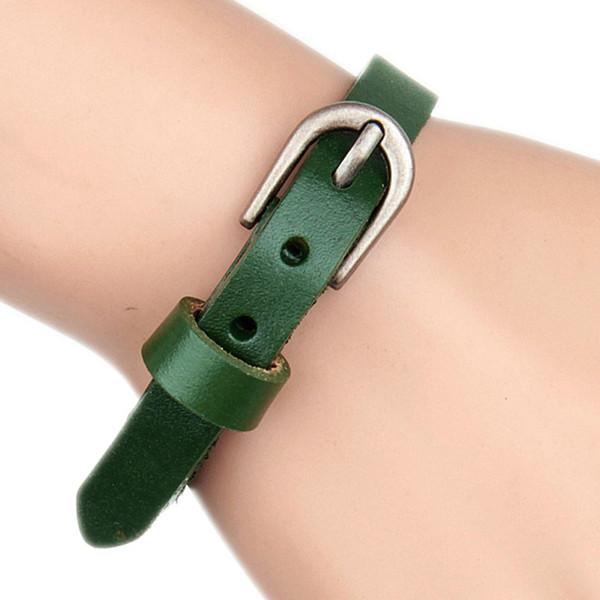 Unisex Männer Ledergürtel Armbänder Armreifen Einstellbare Frauen Leder Einfache Handgelenk Manschette Schnalle Punk Armband
