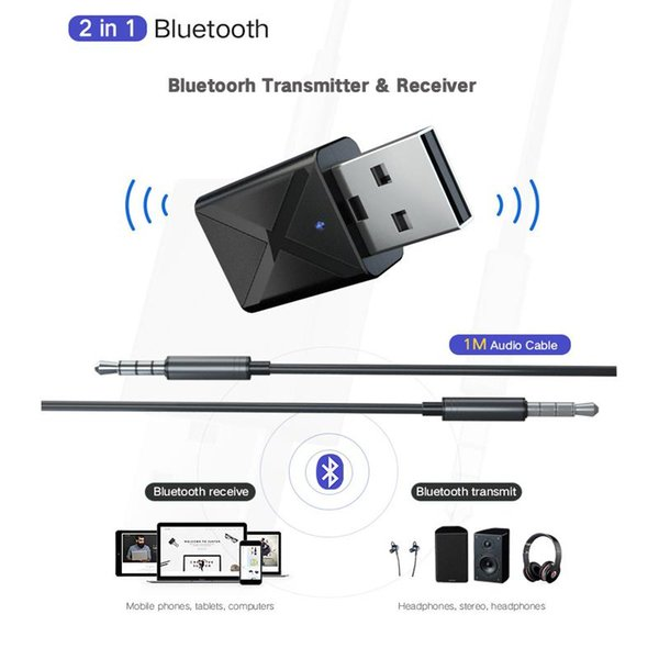 2 In 1 Bluetooth Alıcısı Verici 3.5mm AUX Kulaklık Hoparlör için Bluetooth 5.0 Adaptörü Kablosuz Ses Verici TV