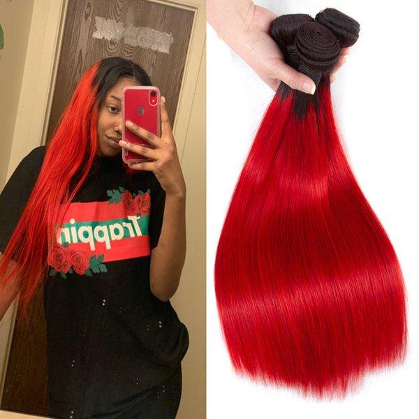Ombre Straight Tessuto Brasiliano Bundles T1b rosso Due tonalità di trama dei capelli umani 3/4 Bundles Cheap 4 * 4 Ombre chiusura di pizzo Virgin Extensions