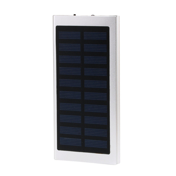 Ultra-Thin Matal Solar Power Bank External Battery Pack Dual USB