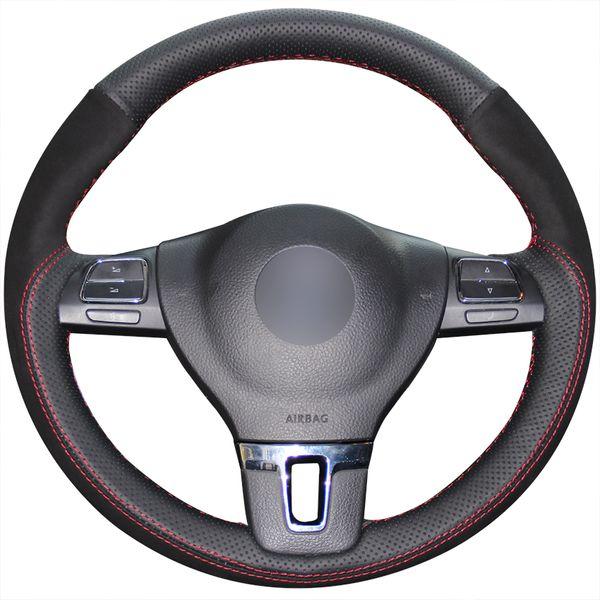 Preto Couro Genuíno de Camurça Preta Capa de Volante para Volkswagen VW Tiguan Tig Passat B7 Passat CC Touran Magotan