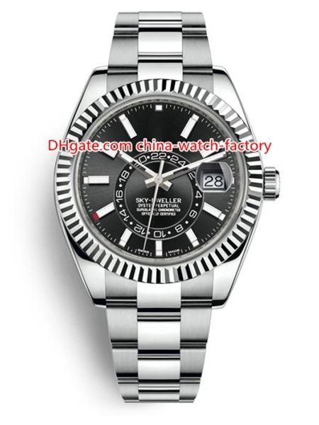 8 Estilo Versión superior Top ventas 42mm Sky-Dweller GMT Workin 326934 326933 326938 Fecha Acero Asia 2813 Movimiento Reloj automático para hombre Relojes