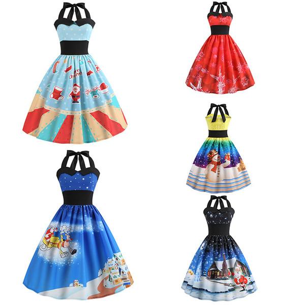 top popular Vintage Dress Christmas Tree Snowman Women Robe 50S 60S Rockabilly Swing Pinup Vestido Patchwork Elegant Party sleeveless Dress LJJA3059 2019