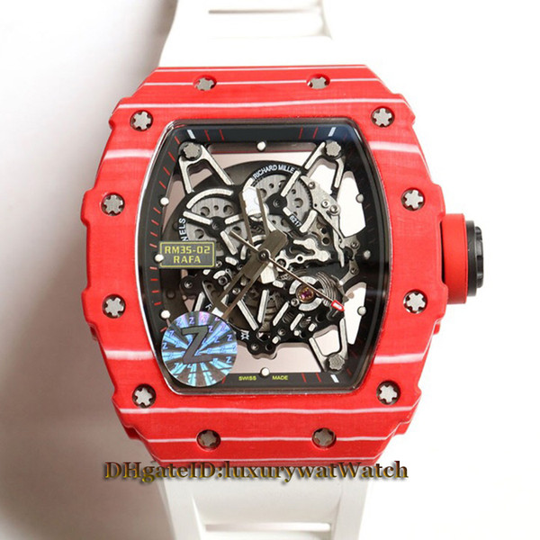 Best Version New RM35-02 Skeleton Dial Red NTPT All Carbon Fiber Pattern Case Japan NH Automatic 35-02 Mens Watch White Rubber Strap Watches