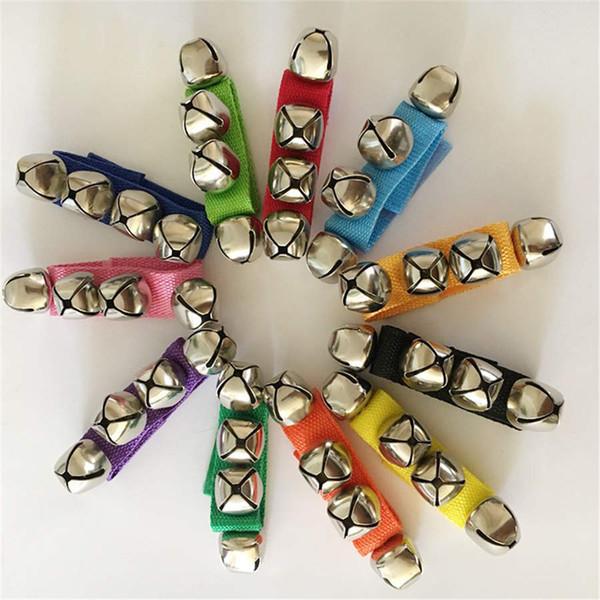 Çocuklar Bilezik El Bell Bebek Metal Renkli Şerit Ayarlanabilir Dans Bilek Ayak Tef Dekorasyon Orff Instruments Accessor